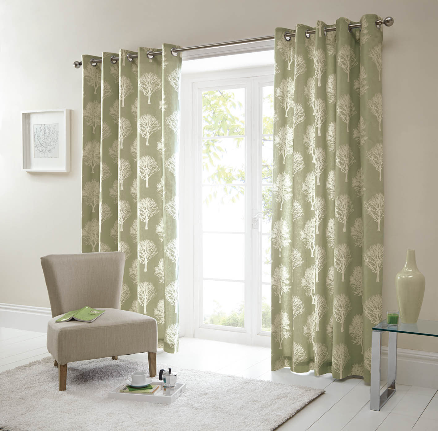 Pastel Trees Green 100% Cotton Curtains with Chrome Eyelet Tops