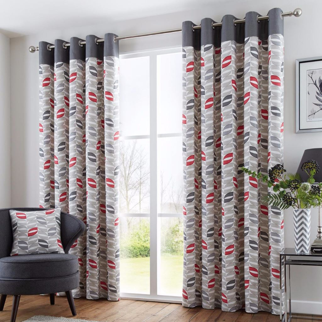 Fusion Copeland Red 66 x 90 Eyelet Lined Curtains