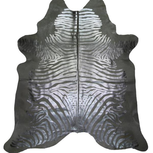 Metallic Silver Natural Cowhide Zebra Print Rugs