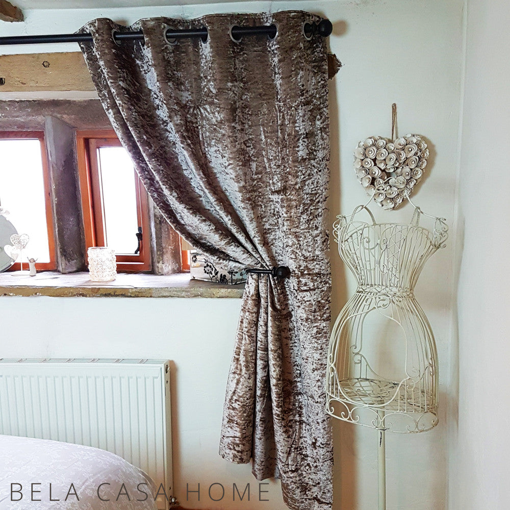 Crushed Velvet Eyelet Top Fully Lined Ready Made Curtains Champagne Bela Casa Home