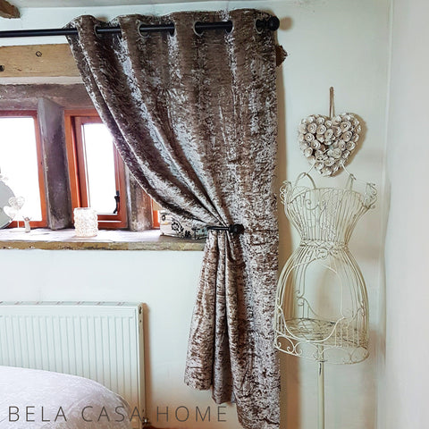Crushed Velvet Eyelet Top, Fully Lined Ready Made Curtains - Champagne