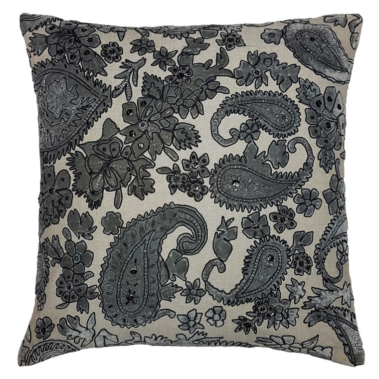 One Of A Kind Embellished paisley 43x43cm Cushion
