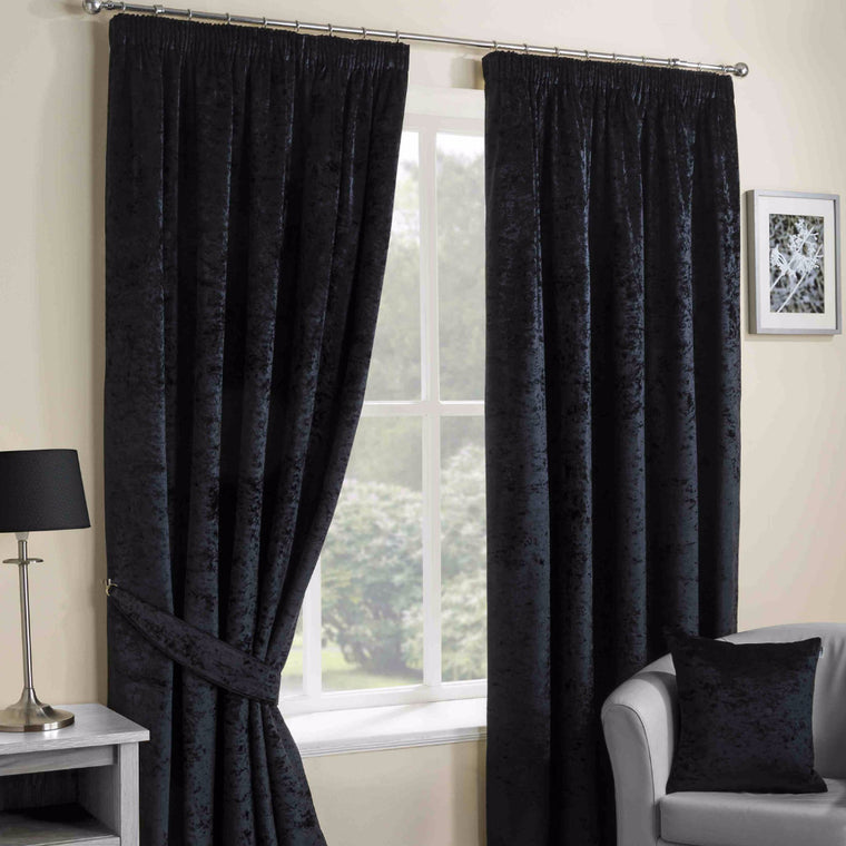 Nova Black Crushed Velvet Pencil Pleat Thermal Lined Curtains