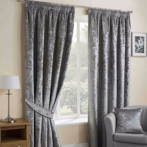 Nova Silver Crushed Velvet Pencil Pleat Thermal Lined Curtains