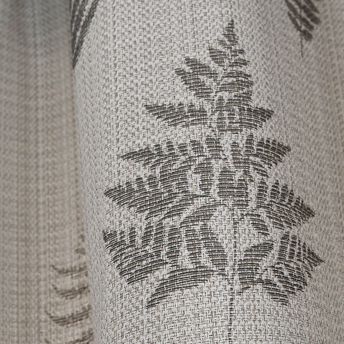 Bela Casa Home Fern Leaf Charcoal Curtains Close Up Fabric shot