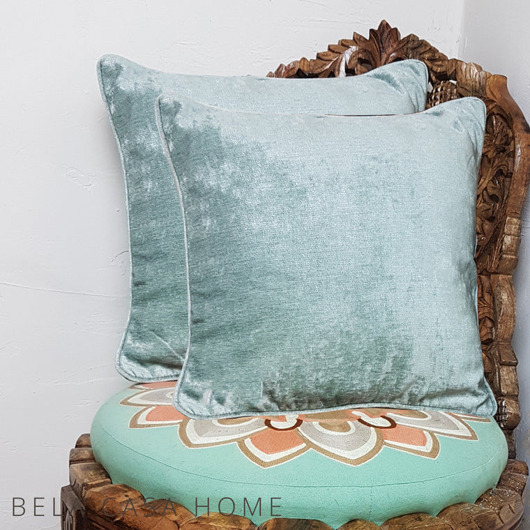 Pair Of Duck Egg Velvet Cushion Covers (43 x 43cm)