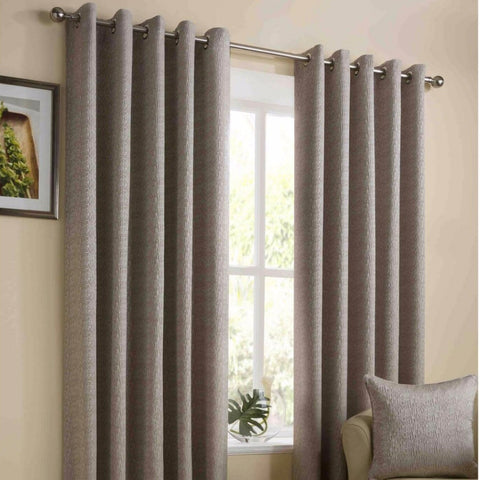Lyon Gold Woven Textured Fully lined Eyelet Curtains