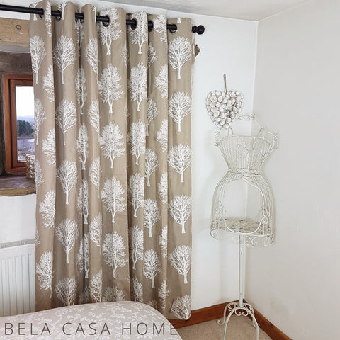 Pastel Trees Natural 100% Cotton Curtains with Chrome Eyelet Tops