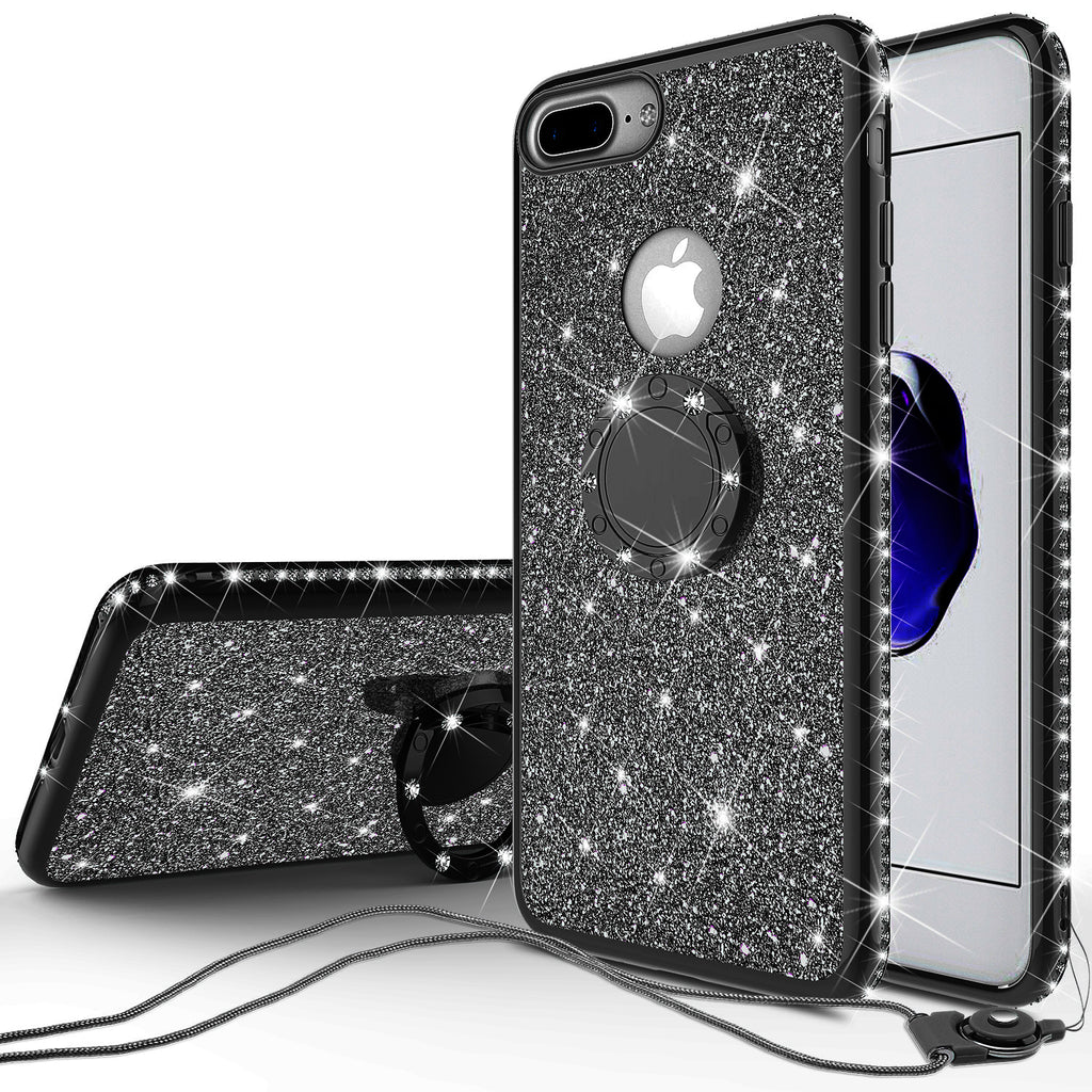 reputable site d6b36 caacb Apple iPhone 8 Plus Case, Glitter Cute Phone Case Girls with  Kickstand,Bling Diamond Rhinestone Bumper Ring Stand Sparkly Luxury Clear  Thin Soft ...