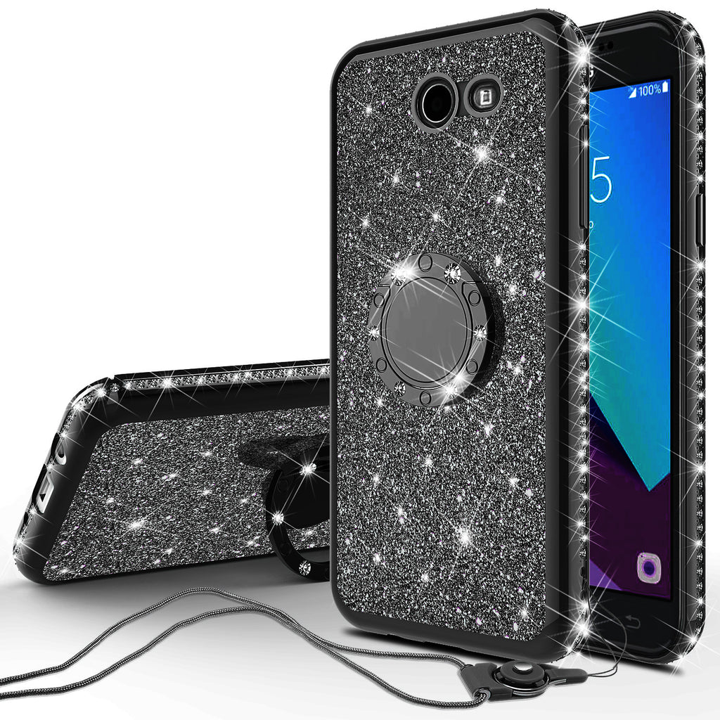 super popular c8a3f 1276c Samsung Galaxy J3 Emerge Case, J3 (2017) Case, Glitter Cute Phone Case  Girls with Kickstand,Bling Diamond Rhinestone Bumper Ring Stand Sparkly  Luxury ...