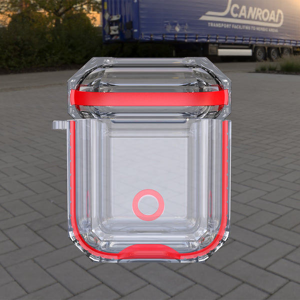 apple airpods 1&2 clear crystal case - red- www.coverlabusa.com