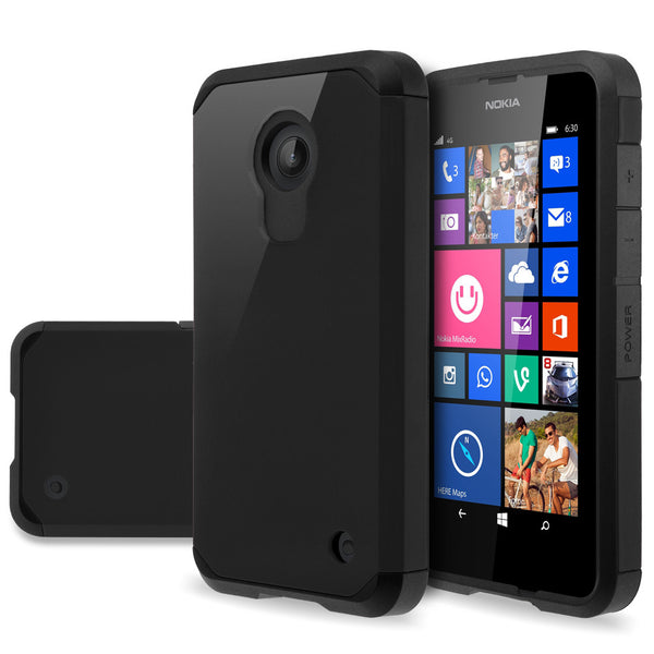 Nokia Lumia 635 Slim Hybrid Dual Layer Case - Black- www.coverlabusa.com