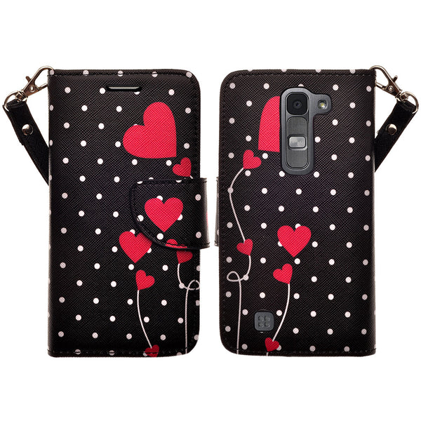 lg volt2 wallet case - polka dot hearts - www.coverlabusa.com