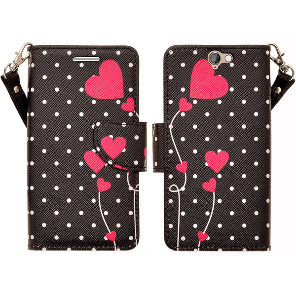 HTC One A9 leather wallet case - polka dot heart - www.coverlabusa.com