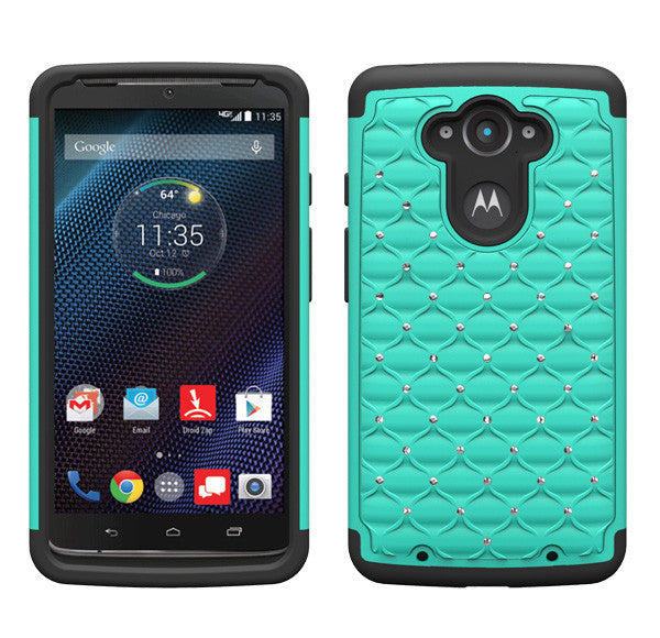 Motorola Droid Turbo Rhinestone Case - teal/black - www.coverlabusa.com