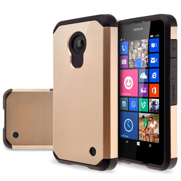 Nokia Lumia 635 Slim Hybrid Dual Layer Case - Gold- www.coverlabusa.com
