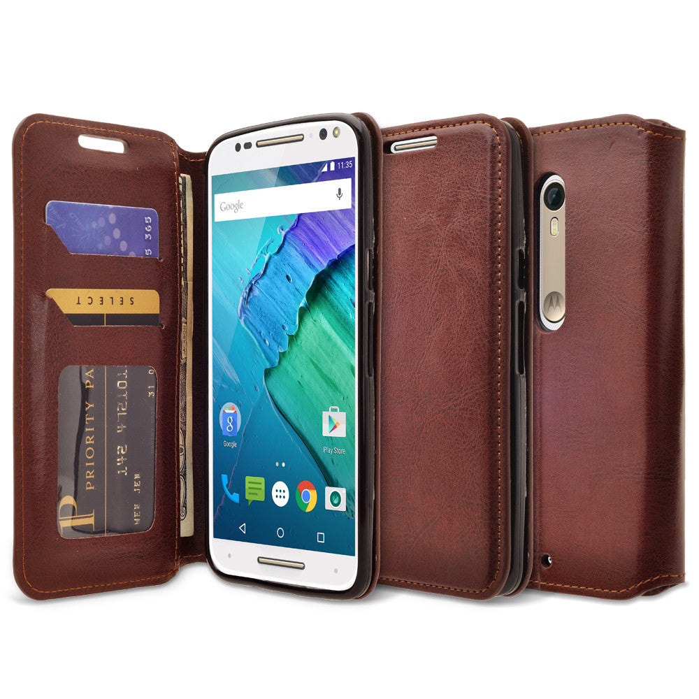 buy popular 139ae d9cb2 Motorola Moto X Style Case, Magnetic Fold[Kickstand] Pu Leather Wallet Case  with ID & Credit Card Slots - Brown