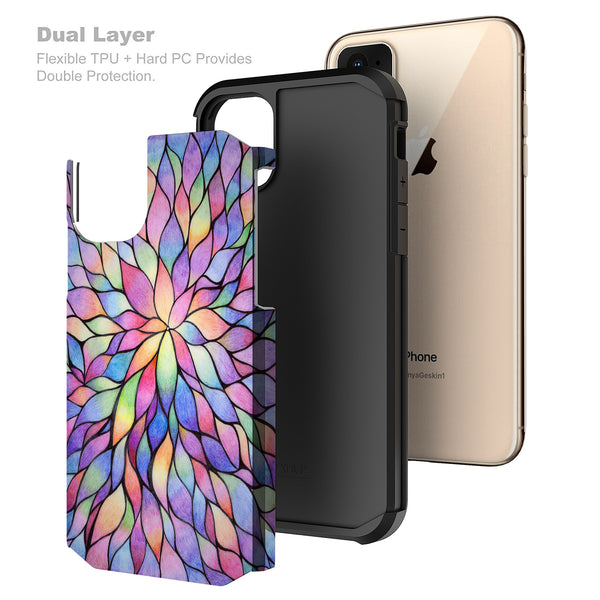 Apple iPhone 11 Pro Max , iPhone 11 Pro Max, [Include Temper Glass Screen Protector] Slim Hybrid Dual Layer [Shock Resistant] Case for iPhone 11 Pro Max - Rainbow Flower