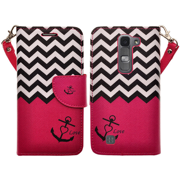lg volt2 wallet case - hot pink anchor - www.coverlabusa.com