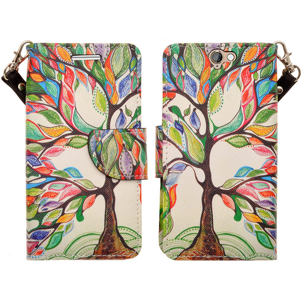 HTC One A9 leather wallet case - colorful tree - www.coverlabusa.com