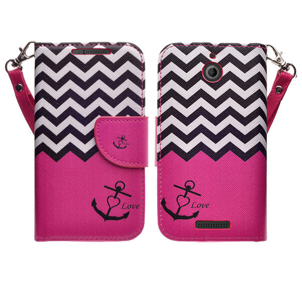 htc desire 510 leather wallet case - hot pink anchor - www.coverlabusa.com