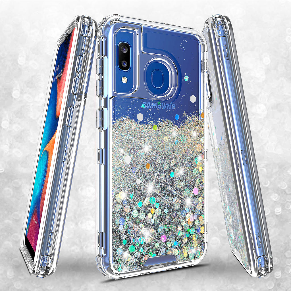 hard clear glitter phone case for samsung galaxy a20 - clear - www.coverlabusa.com