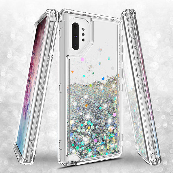 hard clear glitter phone case for samsung galaxy note 10 plus - clear - www.coverlabusa.com