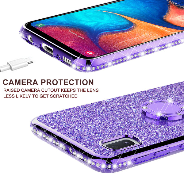 samsung galaxy a10e glitter bling fashion case - purple - www.coverlabusa.com