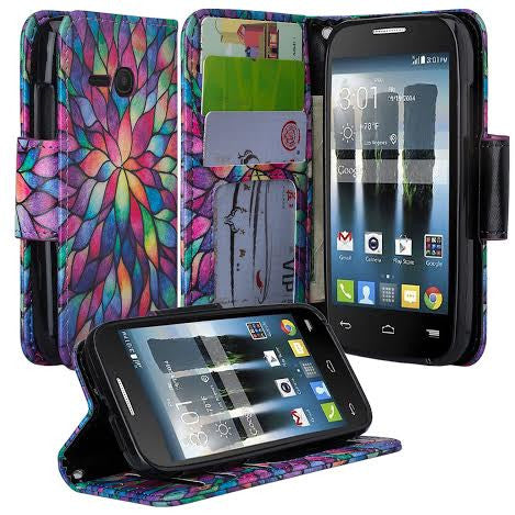 Alcatel Pixi Eclipse Wallet Case, rainbow flower, www.coverlabusa.com