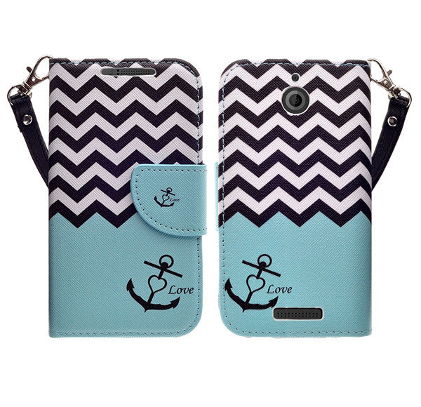 htc desire 510 leather wallet case - teal anchor - www.coverlabusa.com
