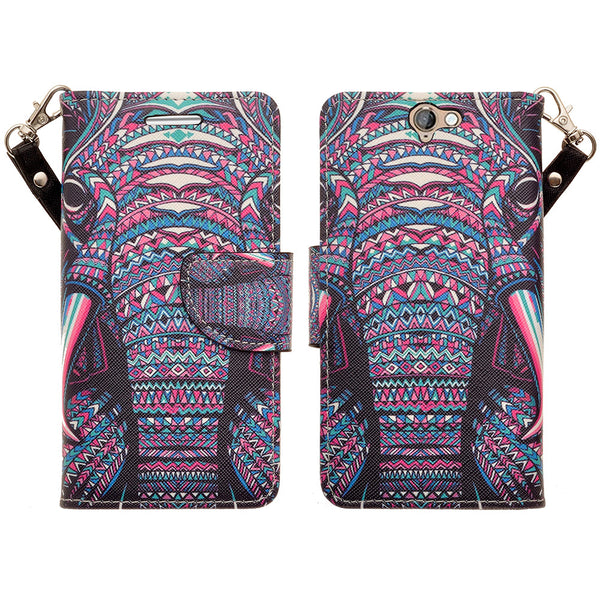 HTC One A9 leather wallet case - tribal elephant - www.coverlabusa.com