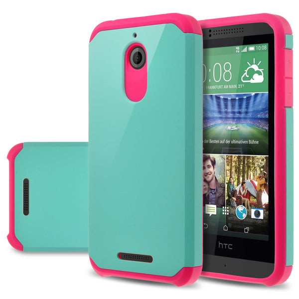 HTC Desire 510 Hybrid Case Cover - Teal / Hot Pink- www.coverlabusa.com