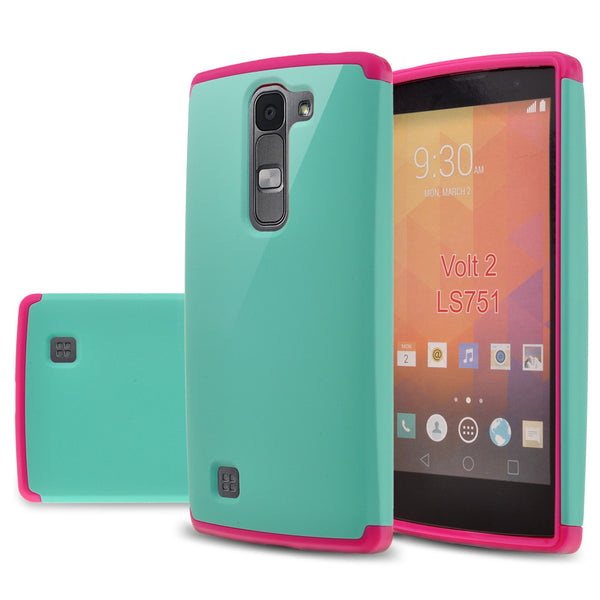 LG Volt2 Slim Hybrid Dual Layer Case - Teal/Hot Pink - www.coverlabusa.com