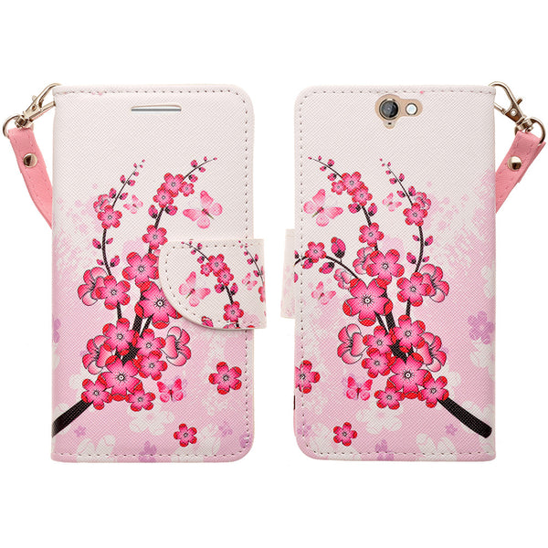 HTC One A9 leather wallet case - cherry blossom - www.coverlabusa.com