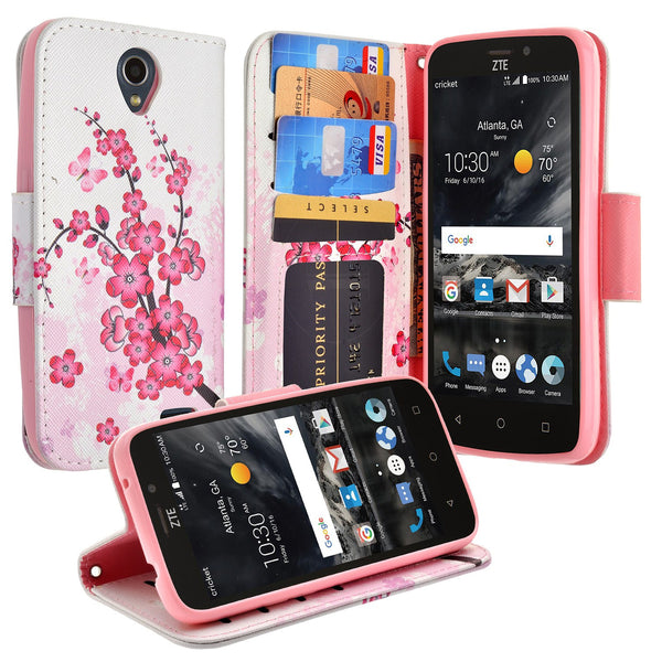 ZTE Prestige 2 Wallet Case [Card Slots + Money Pocket + Kickstand] and Strap - Cherry Blossom