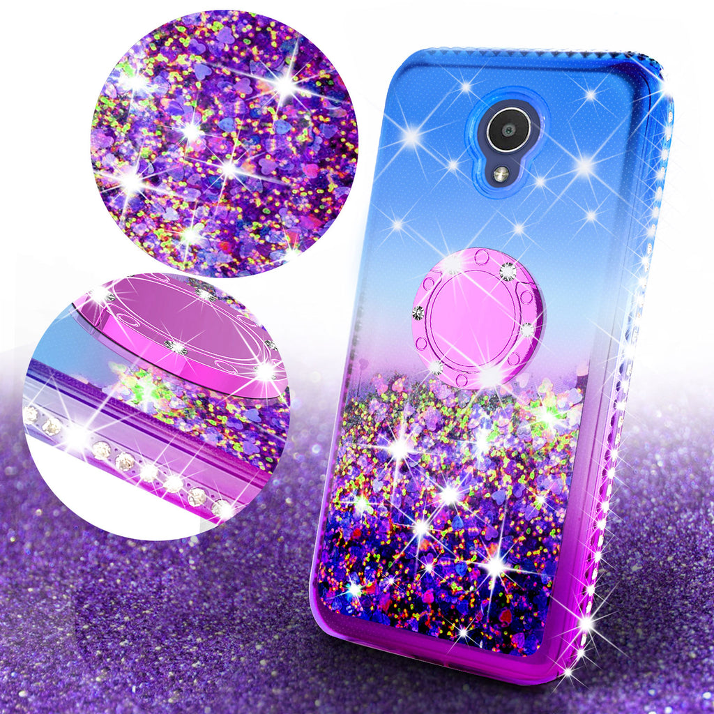 Alcatel 1x Evolve, TCL LX, Avalon V, IdealXTRA Case, Ring Stand Liquid  Floating Quicksand Bling Sparkle Protective Girls Women - (Blue Gradient)