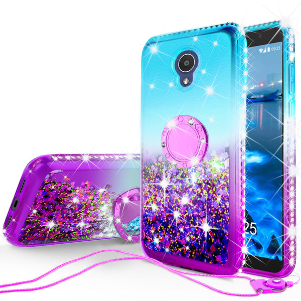 glitter ring phone case for alcatel 1x evolve - teal gradient - www.coverlabusa.com
