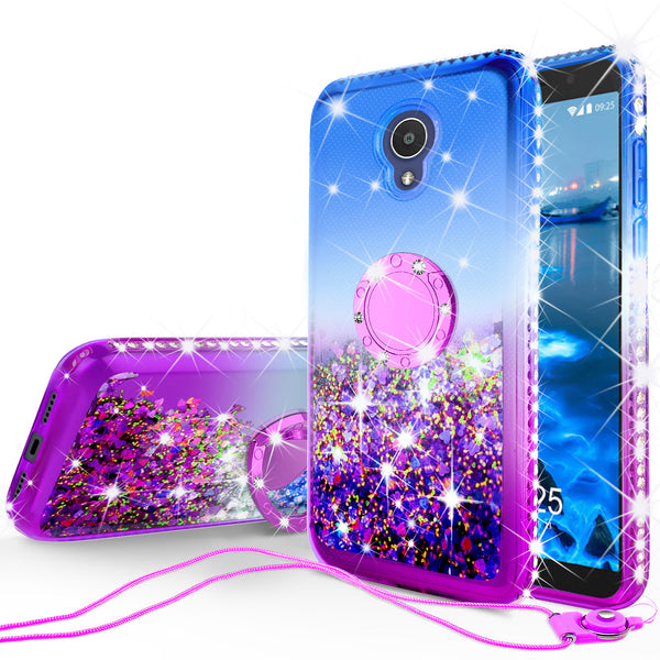glitter ring phone case for alcatel 1x evolve - blue gradient - www.coverlabusa.com