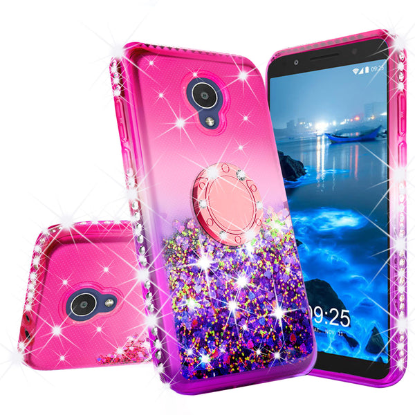 glitter ring phone case for alcatel 1x evolve - hot pink gradient - www.coverlabusa.com