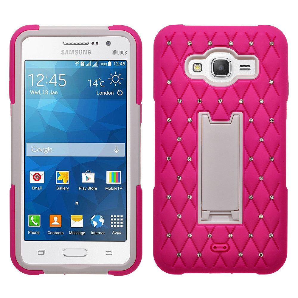 huge discount 2be74 48c5d Galaxy Go Prime Case, Samsung Grand Prime Case, Heavy Duty Armor Diamond  Rhinestone Hybrid Case with Kickstand - Hot Pink/White