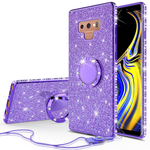 samsung galaxy note 9 glitter bling fashion case - purple - www.coverlabusa.com