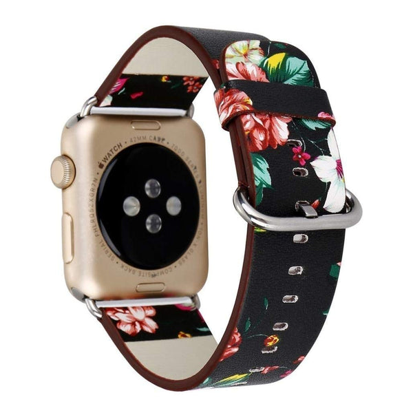 Black Floral Printed Leather Watch Band 38mm Strap - Black red flower - www.coverlabusa.com