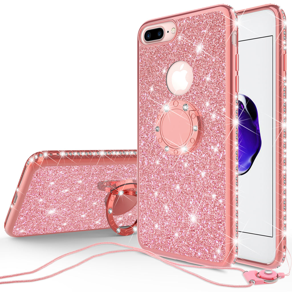 reputable site 76c23 b1897 Apple iPhone 8 Plus Case, Glitter Cute Phone Case Girls with  Kickstand,Bling Diamond Rhinestone Bumper Ring Stand Sparkly Luxury Clear  Thin Soft ...