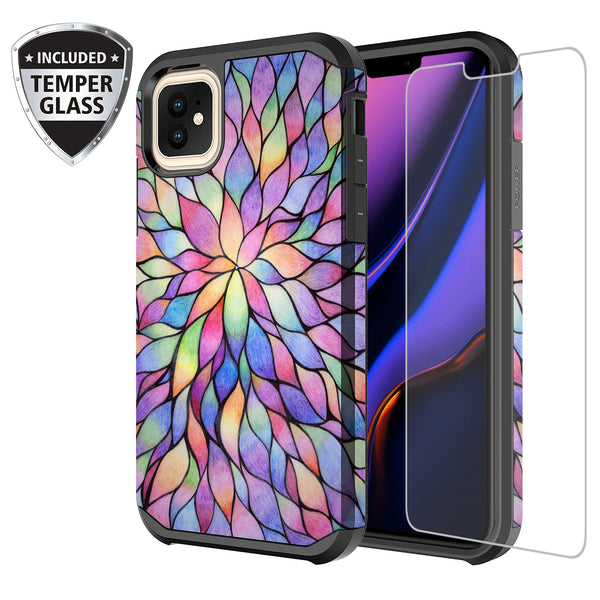 apple iphone 11 pro hybrid case - rainbow flower - www.coverlabusa.com