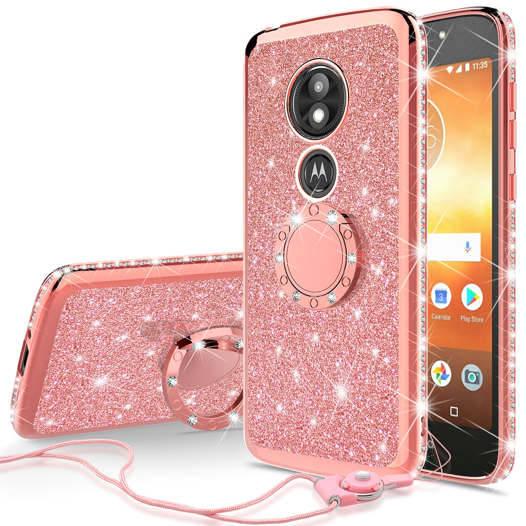 new style a8ccf b9c61 Motorola Moto E5 Play , e5 Cruise Case, Glitter Cute Phone Case Girls with  Kickstand,Bling Diamond Rhinestone Bumper Ring Stand Sparkly Luxury Clear  ...