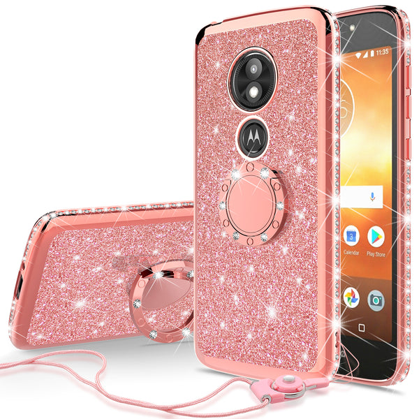 motorola moto e5 play glitter bling fashion case - rose gold - www.coverlabusa.com