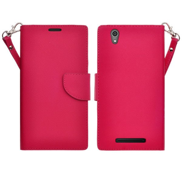 ZTE ZMAX leather wallet case - hot pink - www.coverlabusa.com