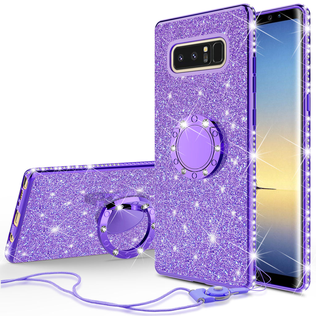 detailed pictures 70d8a 8ae8a Samsung Galaxy Note 8 Case, Glitter Cute Phone Case Girls with  Kickstand,Bling Diamond Rhinestone Bumper Ring Stand Sparkly Luxury Clear  Thin Soft ...
