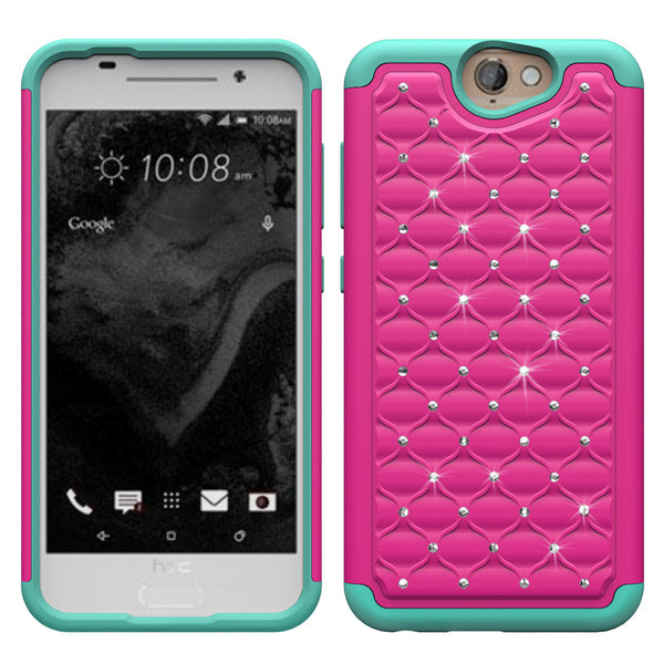 HTC One A9 Rhinestone Case - Hot Pink/Teal - www.coverlabusa.com