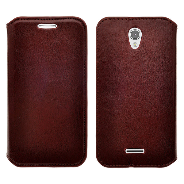 alcatel onetouch pop astro leather wallet case - brown - www.coverlabusa.com